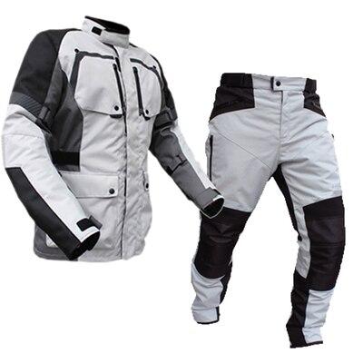 LYSCHY D'été D'hiver Detechable Étanche Moto Veste Maille Respirante Veste Moto Pantalon Costume Vêtements Équipement De Protection