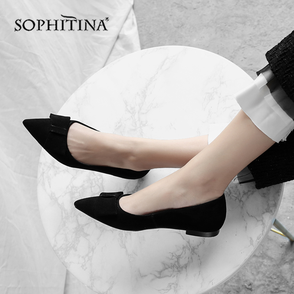 SOPHITINA High Quality Kid Suede Flats Sexy Pointed Toe Slip-on Solid Women's Shoes Fashion Shallow Office Hot Sale Flats  MO162