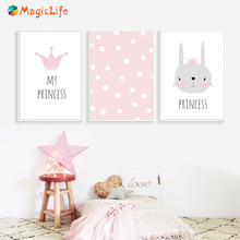Rabbit Poster Cartoon Animals Wall Art Kids Posters And Prints Canvas Painting Nordic Pink Nursery For Babies Room Decoration