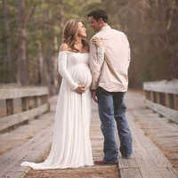 Maternity Dress for Photo Shooting Pregnant Women Maxi Long Dress Short Sleeve Off Shoulder Dresses Maternity Photography Props