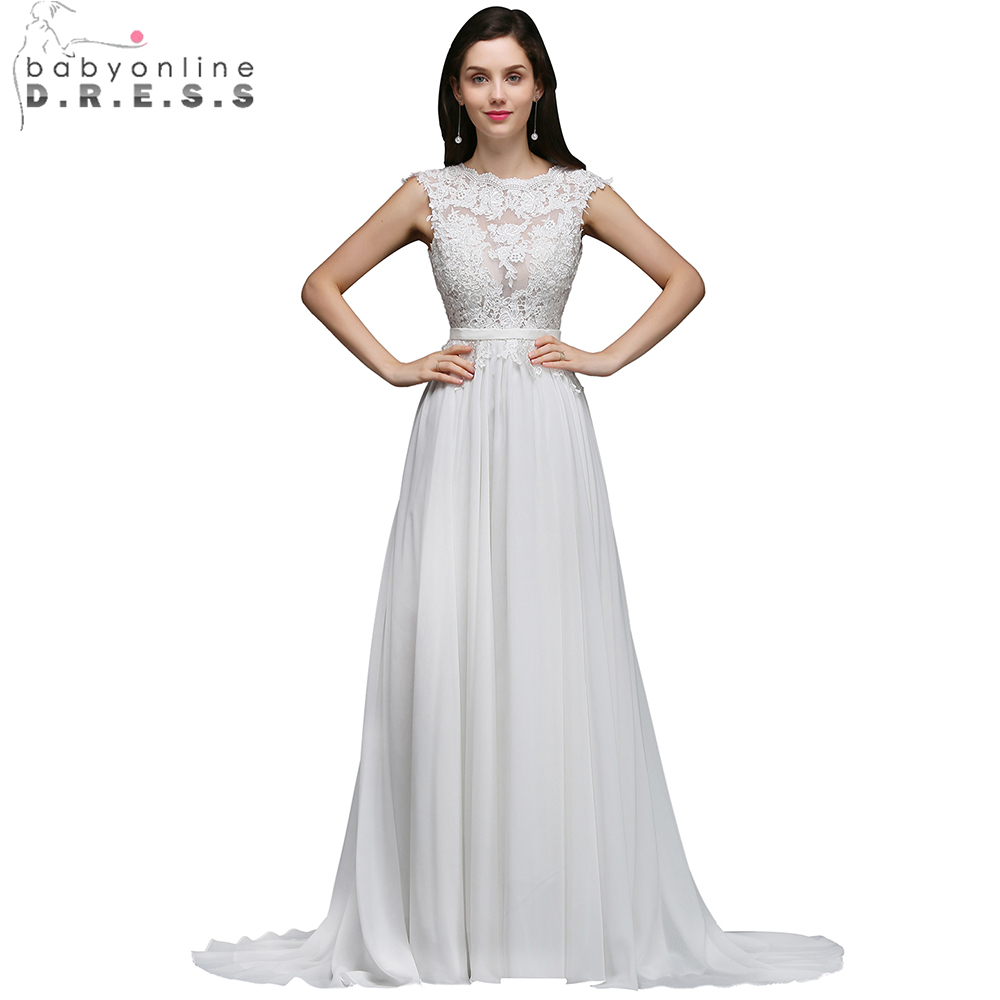 Charming Scalloped Open Back Beach Wedding Dresses 2018 Chiffion Lace Sleeveless Bridal Dress with Train Vestido de Noiva