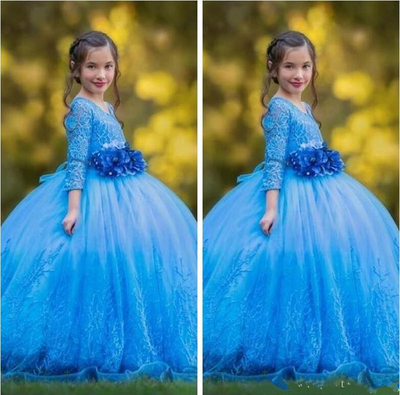 Gorgeous Blue Lace   Flower     Girl     Dress   For Western Wedding with Handmade   Flowers   Full Sleeves Puffy Soft Material Custom Made Long