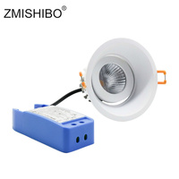 ZMISHIBO Recessed LED Dimmable Downlights 220V 5W 10W 15W 90mm Cut Hole Round Angle Adjustable Ceiling Bedroom Lighting Fixtures
