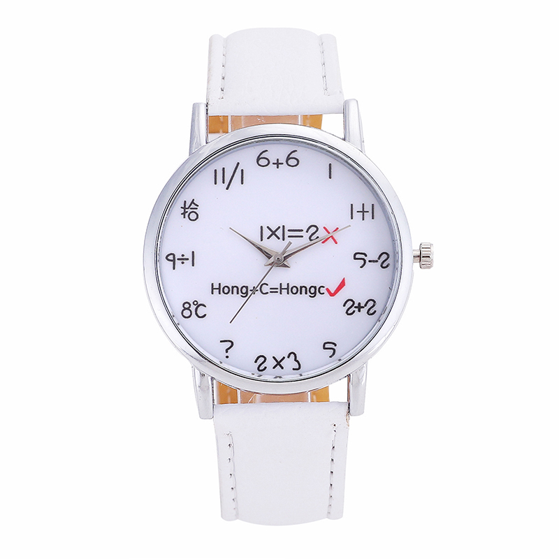 Hot Women Watches Brand Ladies Leather Watch Steel Dial Mathematical Formula Pointer Dial Solid Color  Fashion Watch