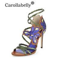2019 carolabelly verano tacón alto Stiletto tacón alto bordado sandalias gran tamaño flor tobillo hebilla Correa zapatos de boda