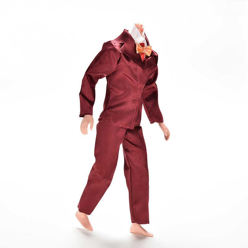 1 комплект модное пальто ручной работы брюки костюмы для кукольной ткани винно-красного цвета мужская Одежда для куклы