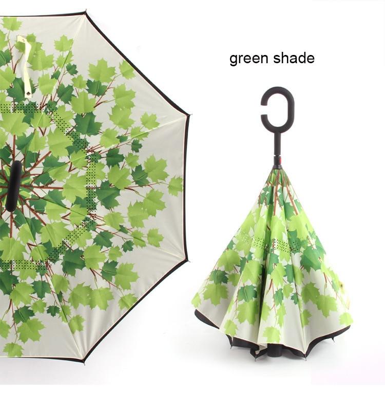 C ручкой ветрозащитный обратный складной зонтик для мужчин и женщин Защита от солнца дождь автомобиль перевернутый Зонты Двойной слой анти УФ Самостоятельная стойка Parapluie - Цвет: green shade