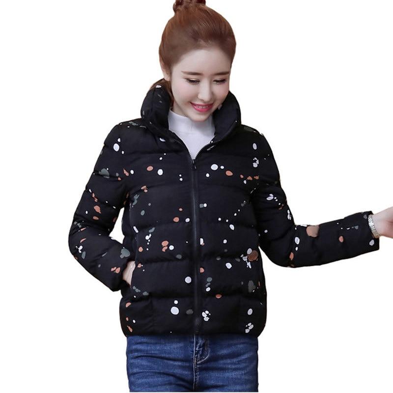 겨울 자켓 여성 파카 플러스 사이즈 thicken outerwear coats 짧은 여성 슬림 프린트 다운 코튼 패딩 탑 자켓 코트 q639-에서파카부터 여성 의류 의  그룹 1