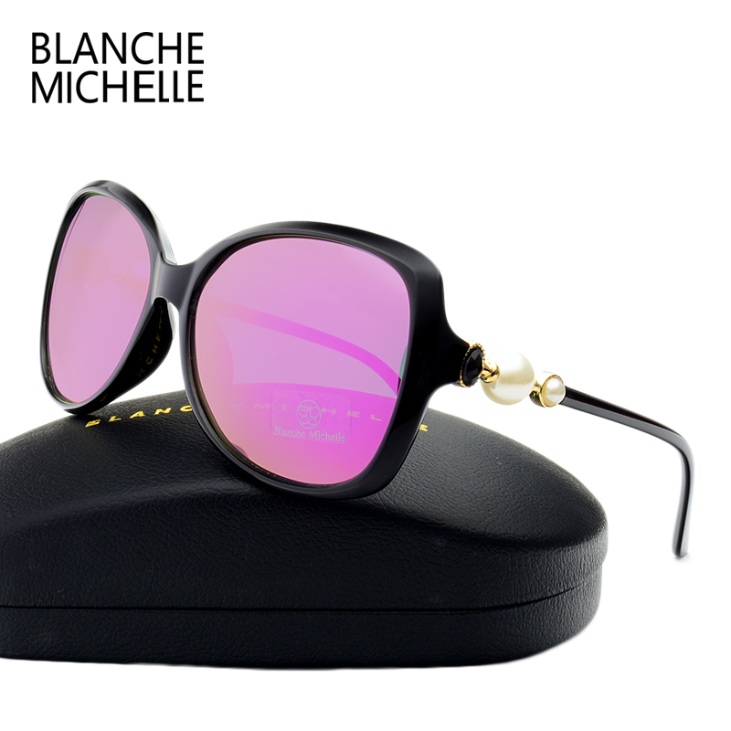 Fashion High Quality Butterfly Pearl Sunglasses Women Mirror Polarized UV400 Sun Glasses Brand Designer 2017 With Original Box 2