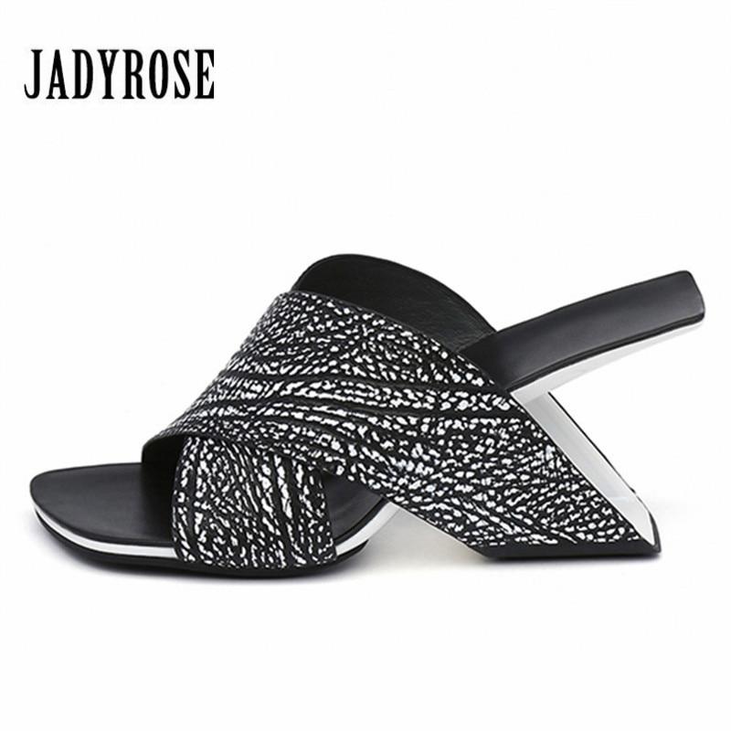 JADY ROSE Strange Heel Women Slippers Summer Sandals Sexy 8CM High Heel Slipper Gladiator Sandal Wedge Shoes Woman Beach Slides