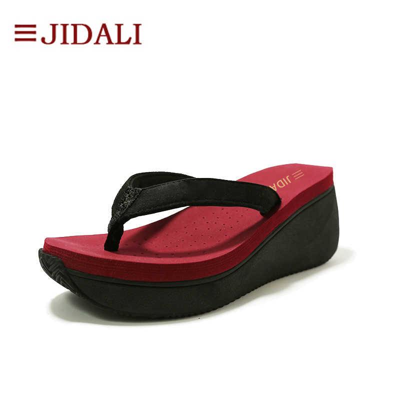 567e64cfda2743 JIDALI Fashion Ladies Summer Shoes Women Platform Flip Flops 7cm High Heel  Wedges EVA Comfy Sport