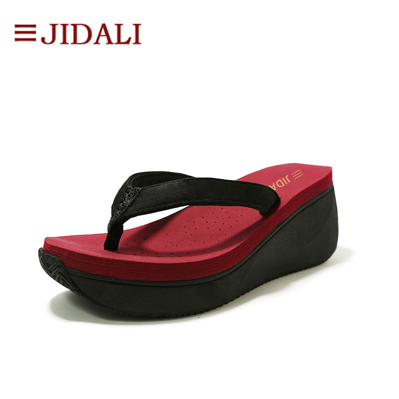 JIDALI Fashion Ladies Summer Shoes Women Platform Flip Flops 7cm High Heel Wedges EVA Comfy Sport Sandals Size 35-40 купить в Москве 2019