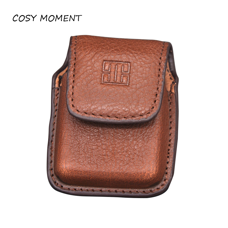 COSY MOMENT Leather <font><b>Lighter</b></font> Pocket Man Cigarette <font><b>Lighter</b></font> Holder <font><b>Bag</b></font> <font><b>Lighter</b></font> Case For <font><b>Zippo</b></font> Match 90% Kerosen <font><b>Lighter</b></font> YJ445 image