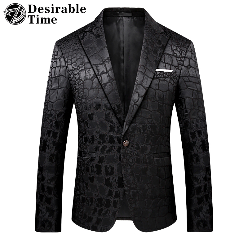 Desirable Time Mens Fashion Blazers Casual Stylish Wedding Mens Stage Wear Men Black Printed Blazer Slim Fit DT162