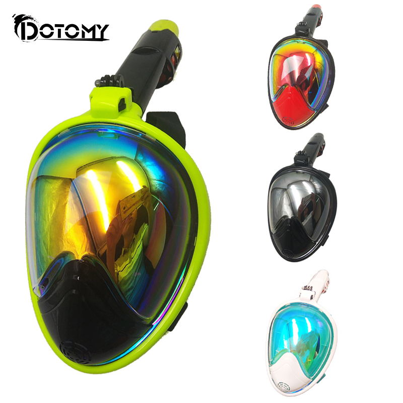 PLATED Colorful Diving Mask Full Face Snorkeling Mask Swimming Training Scuba Mask Anti Fog for Gopro Camera diving equipment scubapro crystal vu mask for scuba snorkelling diving water sports