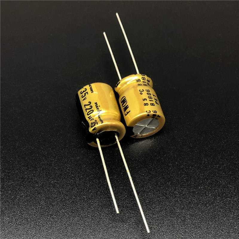 5Pcs/50Pcs 220uF 35V NICHICON FW Series 10x12.5mm 35V220uF HIFI Audio Aluminum Electrolytic Capacitor