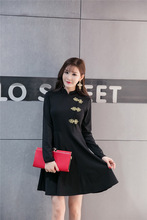 Black and Red dress Chinese Cheongsam skirt  Chinese traditional dress  Ceremonial banquet dress