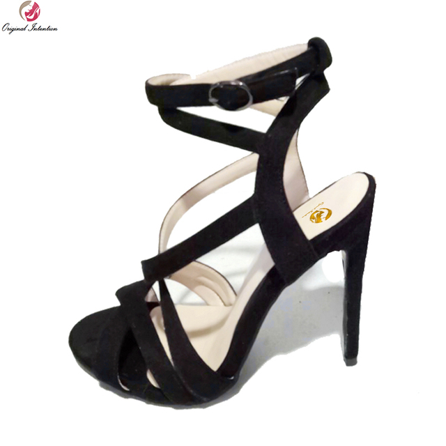 Original Intention Super Sexy Women Sandals Nice Open Toe Thin Heels Sandals Fashion Black Shoes Woman Plus Size 4-15 authentic sale online popular cheap online with paypal sale online discount fake store for sale F3yByWAc
