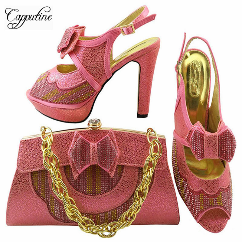 Capputine High Quality Italian Shoes with Matching Bag Set Fashion Decorated With Rhinestone Shoes And Bag Set For Party MM1038 capputine new arrival fashion shoes and bag set high quality italian style woman high heels shoes and bags set for wedding party