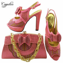 Capputine High Quality Italian Shoes with Matching Bag Set Fashion Decorated With Rhinestone Shoes And Bag Set For Party MM1038