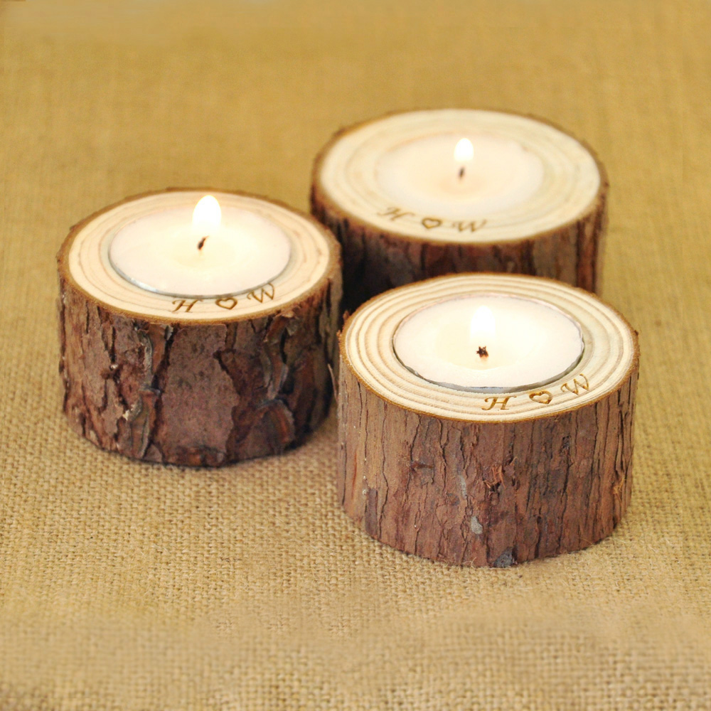 personalized wood candle holders home decoration rustic wedding centerpiece holder in party diy. Black Bedroom Furniture Sets. Home Design Ideas