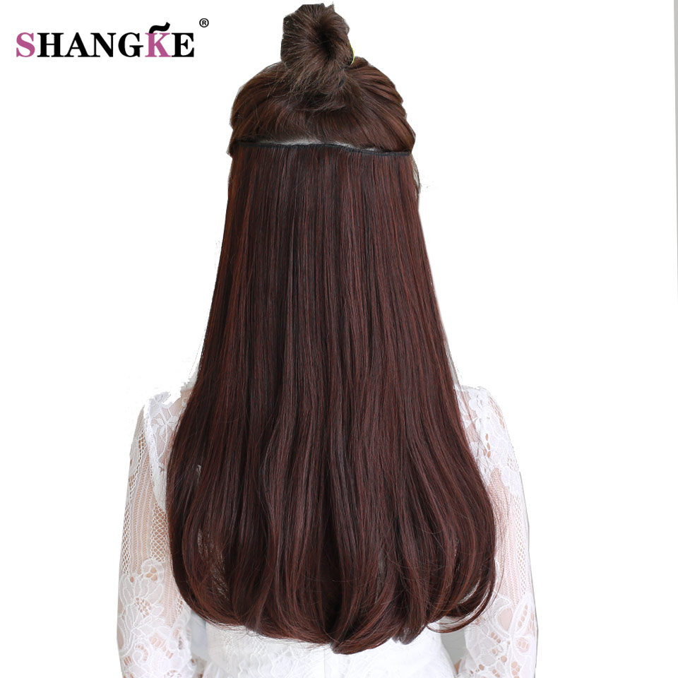 SHANGKE 24'' 180g Clip In Hair Extension Natural Fake Hair Pieces Heat Resistant Synthetic Hair Extensions Enough For Whole Head