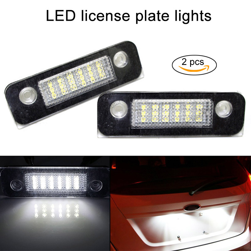 New 2 Pcs White Exact Fit 18-LED License Plate Light Lamps for Ford Fusion Fiesta Mondeo DXY88