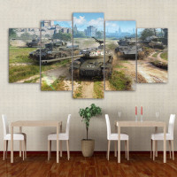 World of tanks game HD posters Of 5 piece canvas painting for living room