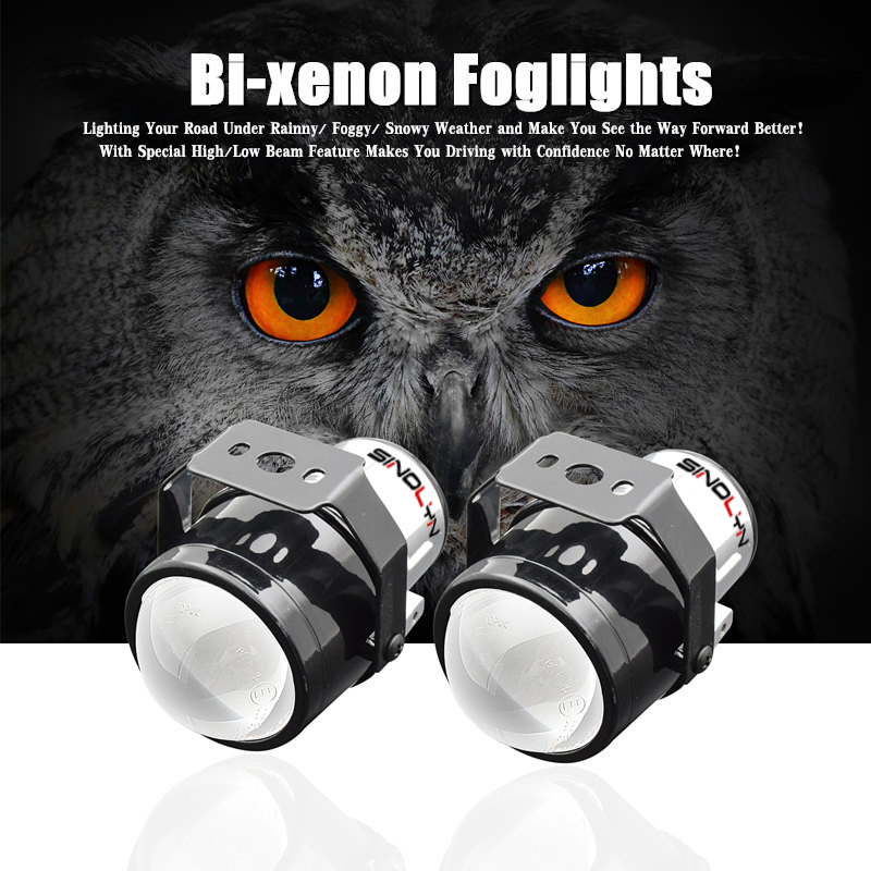 SINOLYN H11 HID Bi xenon Fog Lights Driving Lamp Projector Lens For Car Motorcycle Low Bumper