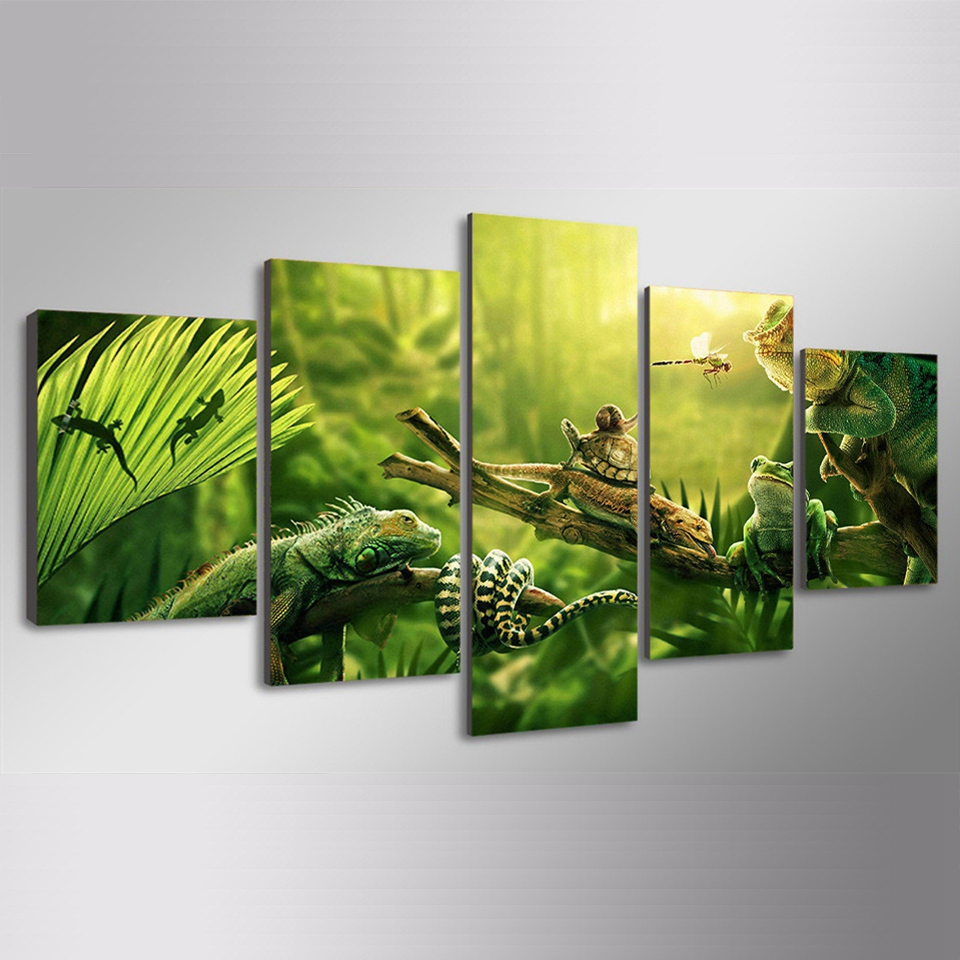 Modern Canvas Pictures HD Print Wall Art Frame 5 Pieces Green Plants Party Animal Insects Living Room Home Decor Painting Poster in Painting Calligraphy from Home Garden
