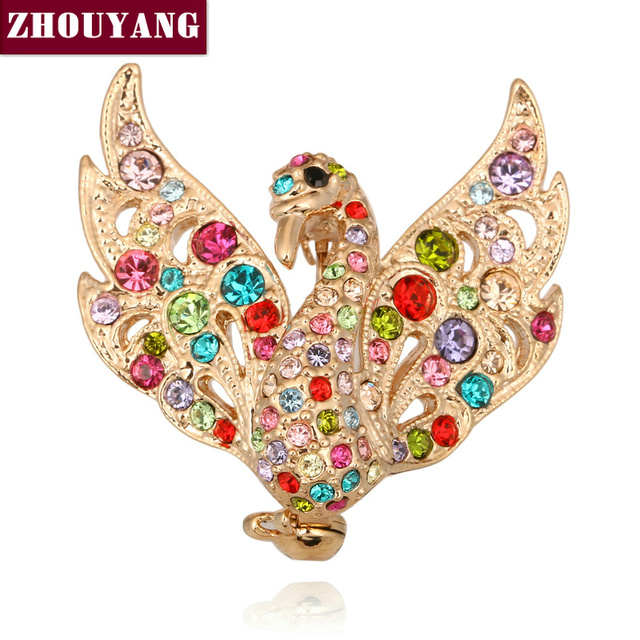 ZHOUYANG ZYX024 Swan Princess Crystal Brooches  Champagne Gold Plated  Jewelry Austrian Crystal  Wholesale