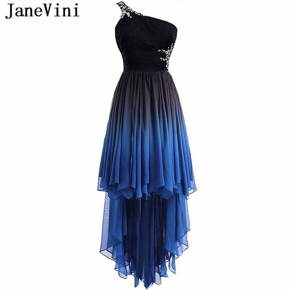 JaneVini mode 2019 haut bas dégradé en mousseline de soie longue robes de demoiselle d'honneur une épaule cristal perlé dos nu robes de soirée formelles