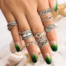 Bohemian Punk Crystal Jewerly Rings For Women Antique Silver Horse Flower Inifinite Ring Set Anillos Corona(China)