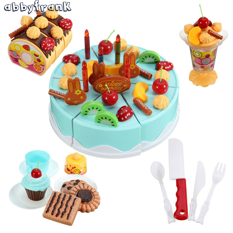 Abbyfrank 75Pcs Kitchen Toy Dishes Kid Toy Cutting Birthday Cake Food Toy Kitchen Plastic Play Food