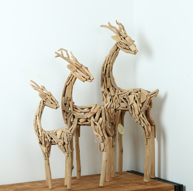 Home Decor Gift Ideas Part - 23: Home Decor Modern Style Wood Artworks Tube Unique Gift Ideas 100% Handmade  3 Pieces Deers