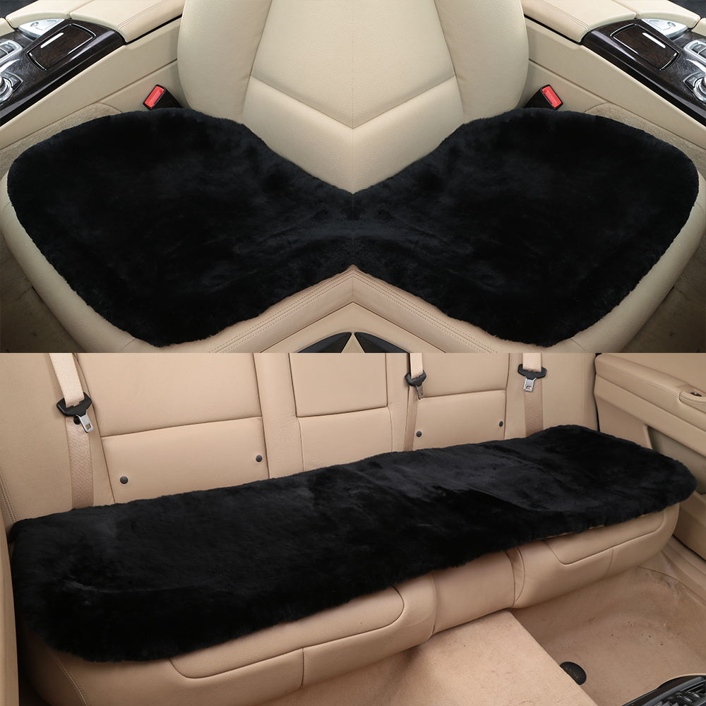 19 Inch Luxurious Natural Fur Authentic Soft Fluffy Wool Sheepskin Car Seat Cover for Automobile Interior Accessory Seat Cushion ogland natural fur comfort authentic fluffy sheepskin car seat cover for soft car seat cushion made of australia wool automobile