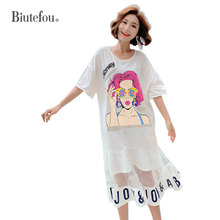 2019 Summer mesh long dresses cartoon print sequins women new arrival