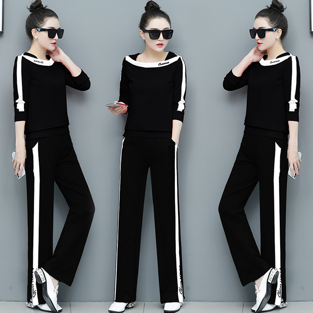 Winter Autumn Black Two Piece Set Ethika Twin Style Tracksuits For Women Outfits Plus Size Sportsuits Pant Suit Top 2019 Clothes