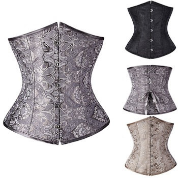 2019 New Sexy Gothic Corset Jacquard Floral Underbust Corset and Waist Cincher Bustiers Top Workout Shape Body Belt Plus Size