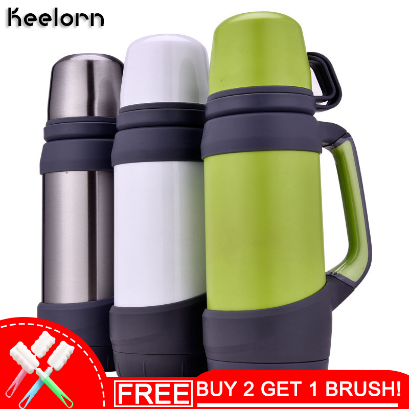 Keelorn Isolierflaschen Thermoskannen Edelstahl 0.8L 1L Große Größe Outdoor-Reisebecher Thermosflasche Thermokaffee Thermoskannen Tasse