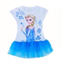 Summer Girl Kids Clothes Dress 2017 Cartoon Anna Elsa Cosplay Kids Girl Clothes Dress Brand Snow