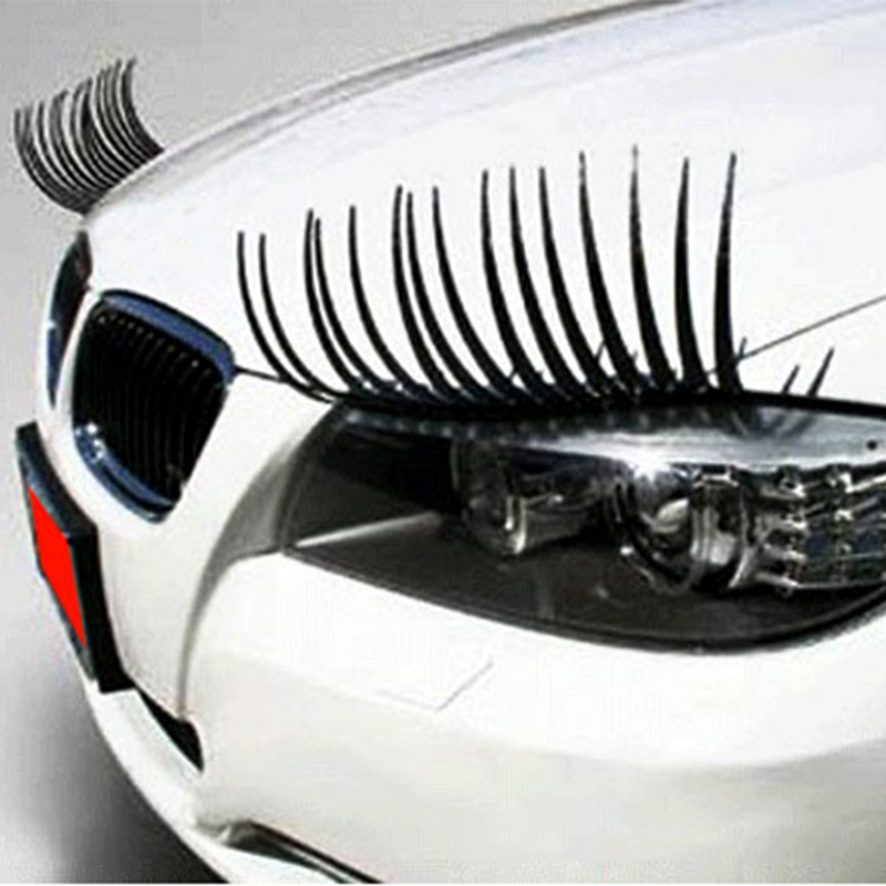 1 Pair Cute Car Styling Decal Black Eyelashes Vehicle Car Headlight Decorative Stick Free Shipping LY268