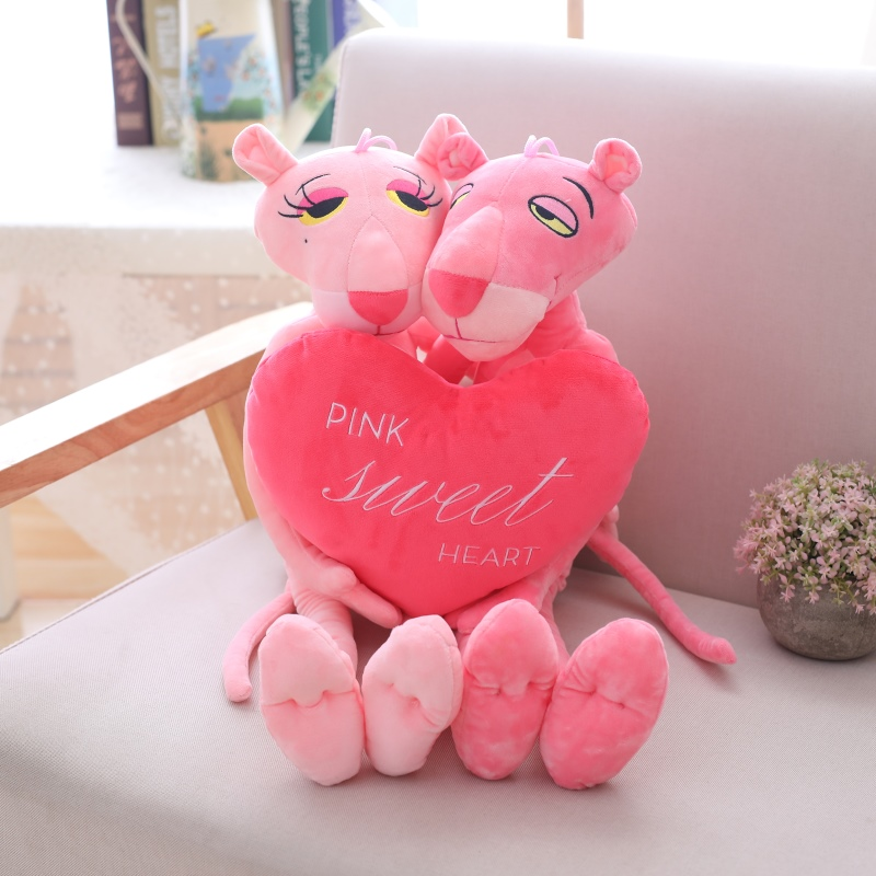 60CM Sweet Heart Couples Plush Toys Love Pink Panther Animal Leopard Doll Stuffed Animals Children Birthday Valentine's Day Gift
