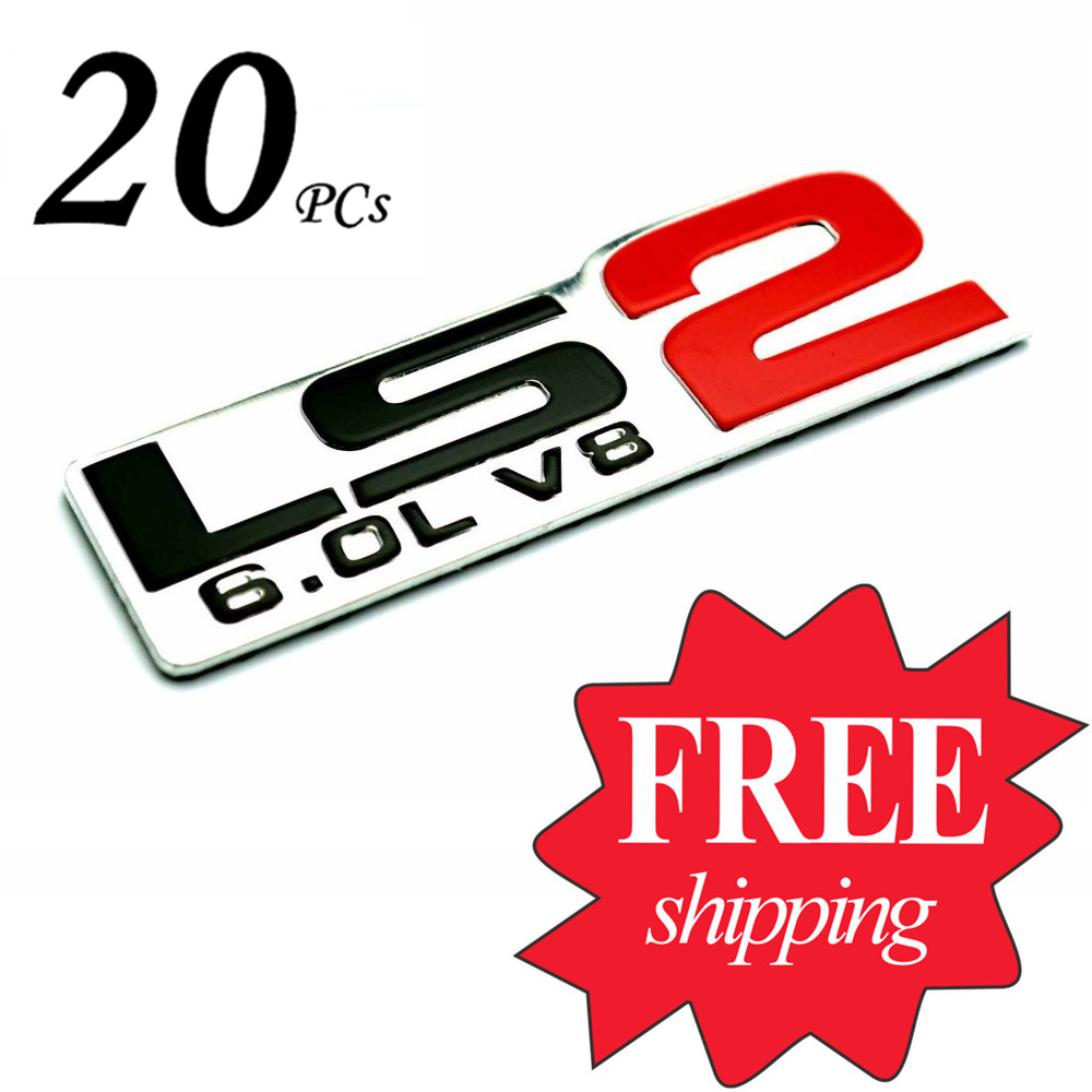 Rhino tuning 20pc wholesales ls2 6 0l v8 badge aluminum emblem car sticker auto styling decal