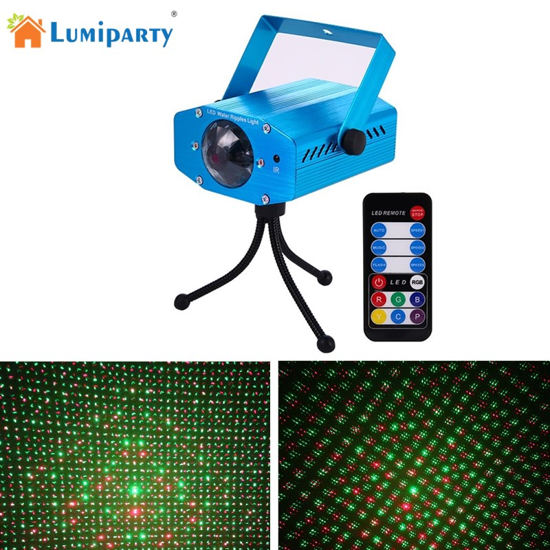 LumiParty Mini Club Disco Light DJ Projector Stage Laser Light Party Green Red Music Control Function RGB LED Water Wave Ripple