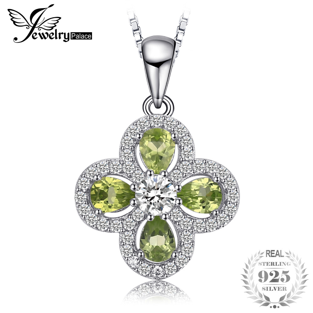 JewelryPalace Flower 2.3 ct Pear-Shape Natural Peridots Necklace Pendant For Women 925 Sterling Silver Chain Brand Jewelry stylish rhinestoned flower spiral shape pendant necklace for women