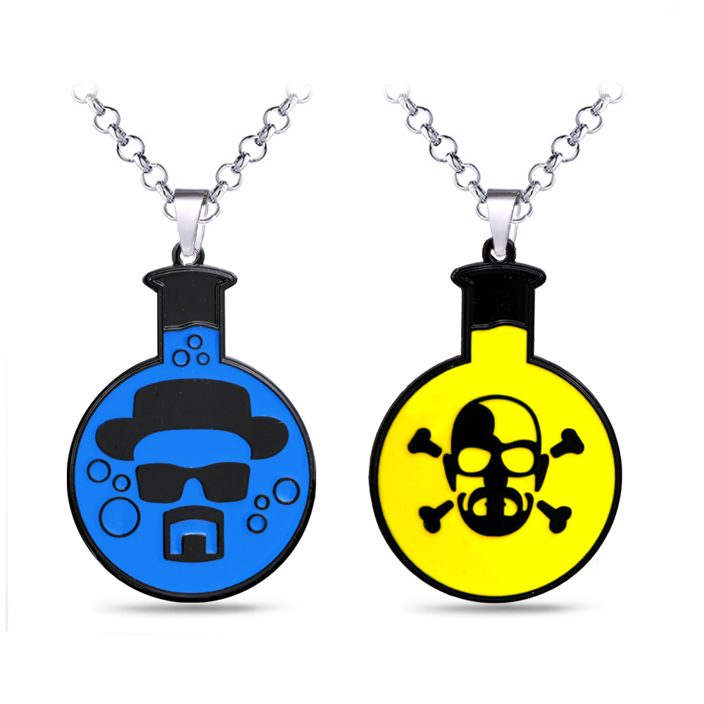 Breaking Bad Necklace Walter White Logo Metal Pendant Skull Link Chain Choker Necklaces Charm Gifts Men Jewelry