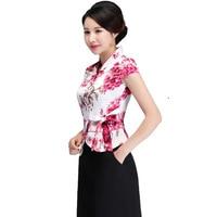 2019 New Women Short Sleeve Shirt Top Chinese Lady Mandarin Wedding Bride Bridesmaid Clothing Elegant Blouse Plus Size 3xl 4xl