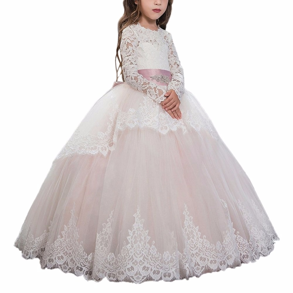 Gorgeous Vestidos de Communion Long Sleeves Ruffles Lace Appliques Handmade Curvy Christmas Little Girls Pink Tulle Ball Gowns pink lace up design cold shoulder long sleeves hoodie dress
