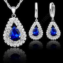 "Jewelry Sets 925 Sterling Silver Austrian Crystal Pendant Necklace 18"" Chain Hoop Earring Lever Back Women Gift Accessory(China)"